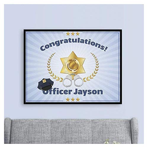 Officer Banner, Police Party, Graduation Banner Size 24x18, 36x24, 48x24 and 48x36, Police Academy Banner, Police Party Ideas, Personalized Congratulation Party Banner Handmade Party Supply Poster