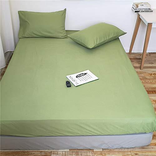 HAIBA Sábanas de algodón – cama individual, doble, King – Super King – Sábanas y fundas de almohada – verde, 100 x 200 cm