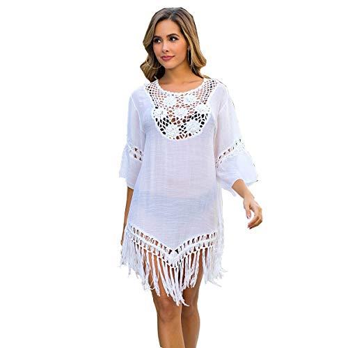 Traje de baño de Mujer Falda de Playa de Ganchillo Top Poncho de Punto Bikini Bikini de Camuflaje de Verano(white-3016)