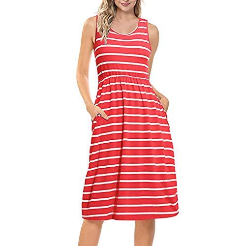 KIMODO Damen Kleid Sommer Ärmellos Lose Gestreiftes Maxikleid Kleider Schwarz Weiß Grau Rot Mode (Rot, XL)