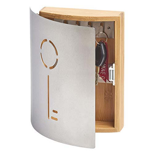 Zeller 13846 Armario para Llaves, bambú / acero inoxidable, Marrón, 21.5x6x24.5 cm