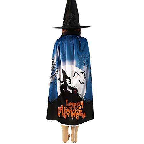 Costume da strega per Halloween, cappello, mantello da mago, mantello per bambini, zucca, giochi di ruolo 2