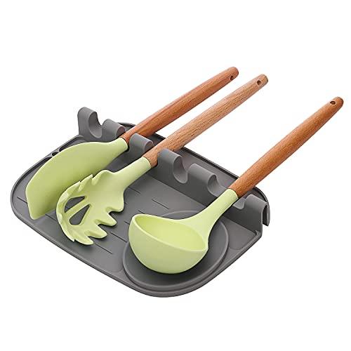 Soporte para cuchara de silicona para mostrador de cocina, soporte de utensilios de cocina con almohadilla de goteo, soporte de utensilios resistente al calor, estante de...