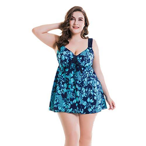 Traje de baño de dos piezas para mujer, de talla grande, con control de barriga, para verano, 2 piezas, estampado de flores, sexy, para playa, para mujer, casual, bikini, falda de natación