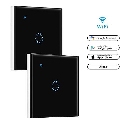 Wifi Smart Touch schakelaar, Konesky wandschakelaar Wireless Light Switch Timer ondersteuning werken met Alexa Google Home afstandsbediening (Neutral draad vereist) (2018 New Upgrade) Black 1 g2p.