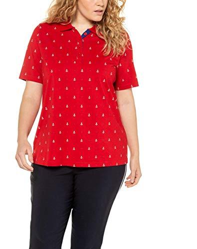 Ulla Popken Damen große Größen Poloshirt Ankerprint, Pima Cotton, Classic T-Shirt, Rot (Apfelrot 72709750), 54-56