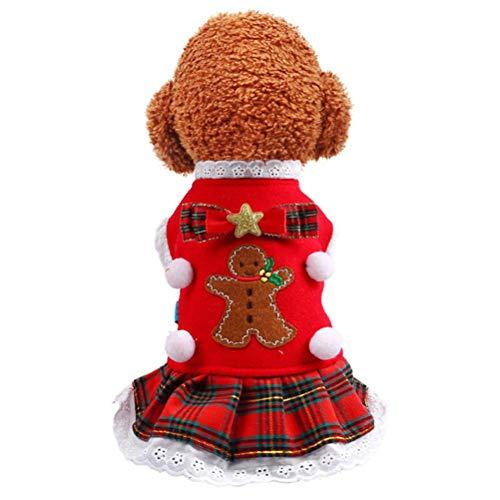 GLEYDY Noël Chien Jupe à Carreaux Rouge Homme en Pain d'épice Pull Col Roulé Animaux Pull à Carreaux Jupe Automne Hiver Chien Épais Robe Princesse,S