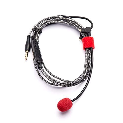 HÖRLUCHS headset kabel 2-pin, 160 cm transparant, zwanenhals microfoon incl. buigelement - afstandsbediening met geluidssterkte en mute-schakelaar voor HL1 HL4 HL5 HL7 serie