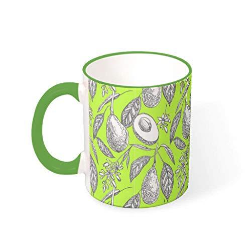 O2ECH-8 11 Oz Avocado Weiß Mischen Kaffee Becher Tasse mit Griff Porzellan Funny Mug - Früchte und Gemüse Männer Geschenke, Anzug für Haus verwenden Irish Green 330ml