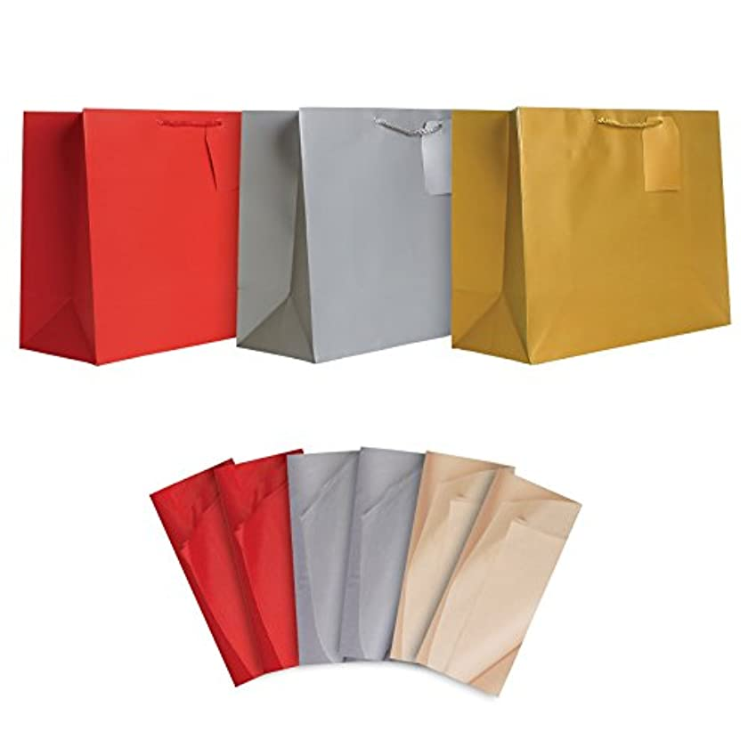Jillson Roberts All-Occasion Jumbo Gift Bags and Tissue in Assorted Colors, 6-Count, Red/Silver/Gold (STJT001)