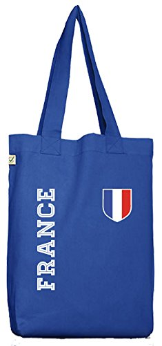 Frankreich Fußball WM Fanshirt Gruppen Bio Baumwoll Jutebeutel Stoffbeutel Fan Trikot France, Größe: onesize,Bright Blue