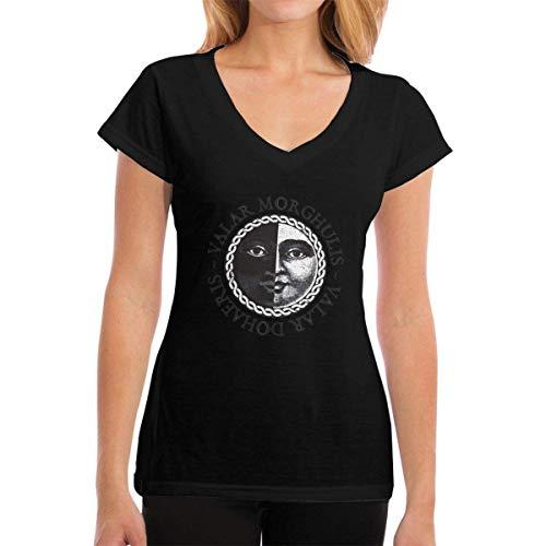 Henrnt Camiseta para Mujer,Top de Camiseta 911 Dispatcher Gift Thin Gold Line Flag Womens Casual Short Sleeve V-Neck T-Shirts