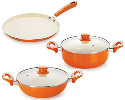 Nirlon 4 Layer Coated Non-Stick Induction Based Ceramic Cooking Item Gift Set