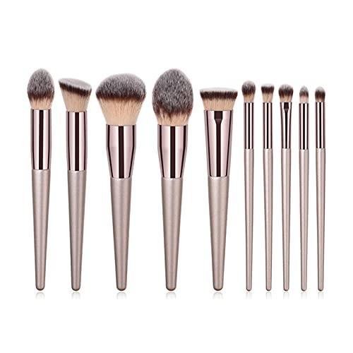 YONGLI 4 / 10pcs Champagne Maquillage Brosses Ensemble pour Fondation Cosmétique Poudre Blush Bouche à paupières Kabuki Mélangeur Make up Brush Beauty Tool (Color : 10pcs XB Kabuki Set)