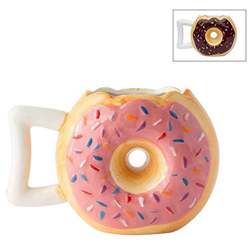 Erjialiu Kaffeetasse Donuts Porzellan Becher für Kaffee Tee Keramik Cartoon Trinkbecher Lustige Drink Milch Tassen,Rosa
