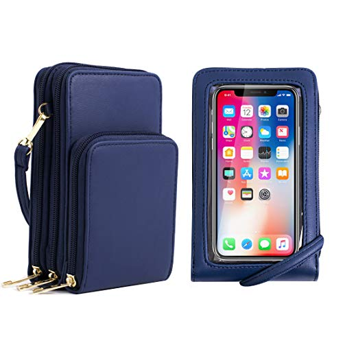 Small Crossbody Phone Bag for Women, RFID Blocking Touch Screen Cell phone Wallet Crossbody Purse Shoulder Strap Credit Card Holder