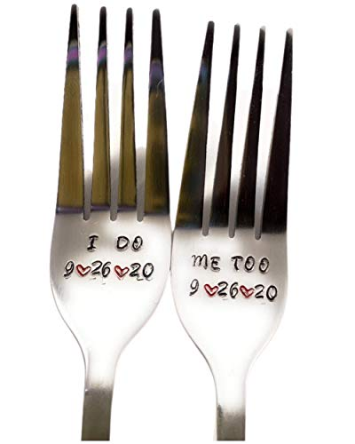 I Do/Me Too Fork Set for the Bride and Groom ~ Hand Stamped Fork Set. Unique Wedding/Shower/Engagement Gift. Can Be Personalized