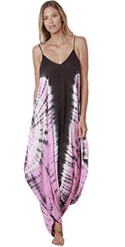 INGEAR Harem Jumpsuit Romper Bohemian Boho Loose Relax Fit Tie Dye Handkerchief Jumpsuits (Pink 1, Small/Medium)