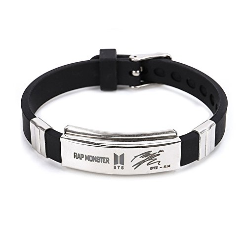 Yuxareen Kpop BTS Bangtan Boys Hip Hop Team Stainless Steel Cuff Bangle Bracelet Wristband Bracelets (RAP MONSTER)