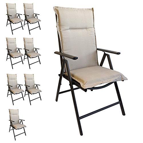 Multistore 2002 8er Set Elegante Gartenstuhlauflage Stuhlauflage Polsterauflage Hochlehner Beige 120x45cm - 5cm dick Sitzauflage Sitzpolsterauflage Sitzkissenpolster