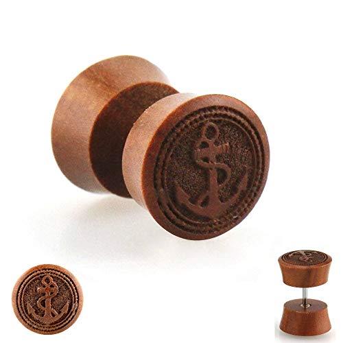 Treuheld Piercing Fake Plug - Holz - Braun - Anker [2.] - 10 mm