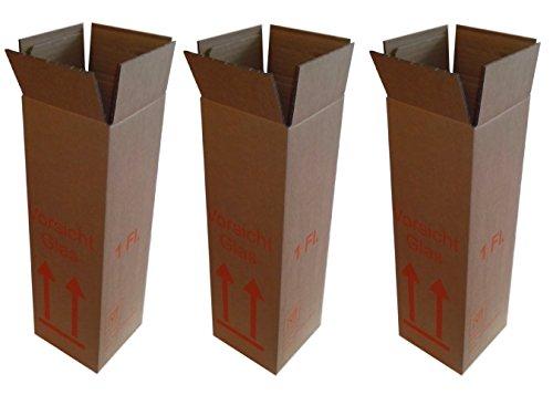3 x 1er Flaschen Versandkarton - DHL Zulassung - Weinversand - für 0,75l Bordeaux / Burgunder / Schlegel / Sekt und 1,0l Schlegel - zusammengebaut, Boden verklebt - 3 Kartons