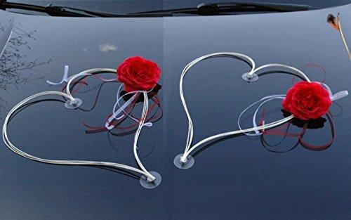 Autoschmuck DEKORIERT Ratan Herzen Auto Schmuck Braut Paar Rose Deko Dekoration Hochzeit Car Auto Wedding Deko (Rot/Weiß)