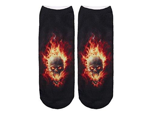 Unbekannt Socken bunt mit lustigen Motiven Print Socken Motivsocken Damen Herren ALSINO, Variante wählen:SO-L011 Skull Flammen