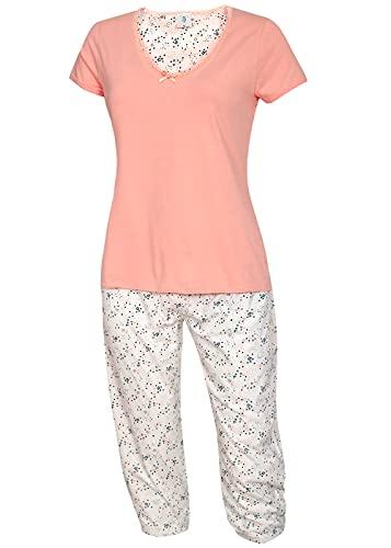 Neu eingetroffen - modischer Damen Schlafanzug Pyjama Shorty mit Caprihose Größe S M L XL Modell Golega Kollektion 2019 (rosa-weiß, 40-42)