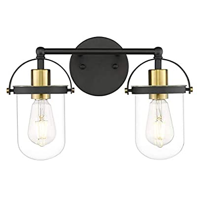 DSMJFU Bathroom Vanity Light Fixtures Over Mirror UL Listed Black and Gold Metal Transparent Glass Wall Sconce 2 Lights E26 Sockets
