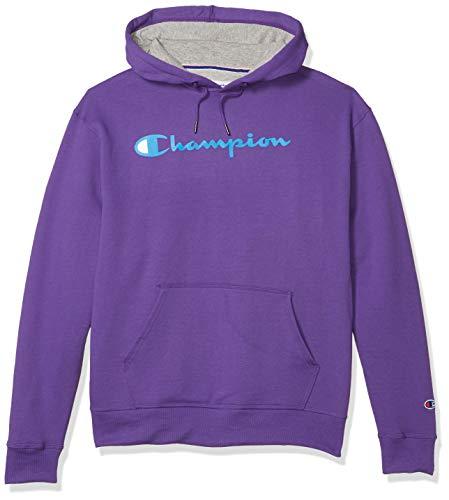 Champion Men's Powerblend Graphic Hoodie, Purple Crush, Medium