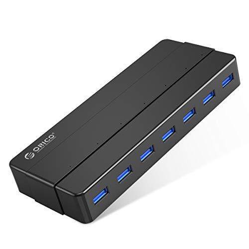 ORICO 7 Porte USB3.0 HUB con Alimentatore 12V2A e Cavo Dati da 100cm Cavo ad Alta velocità da 5Gbps Compatibile con Windows XP/Vista / 7/8/10 / Linux e Mac - Nero
