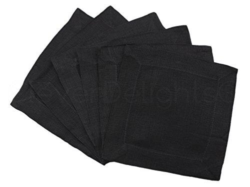 """CleverDelights 12 Pack Black Linen Cocktail Napkins - 6"""" x 6"""" - 100% Pure Linen - Beverage Coaster Napkins"""