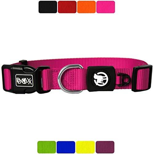 DDOXX Hundehalsband Nylon, verstellbar | viele Farben & Größen | für kleine & große Hunde | Halsband Hund Katze Welpe | Hunde-Halsbänder | Katzen-Halsband Welpen-Halsband klein | Pink, XS
