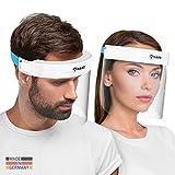HARD 1x Pro Visier Gesichtsschutz Zertifiziertes Face Shield mit Anti Beschlag, Gesichtsvisier, Gesichtsschild Made in Germany für Erwachsene - Weiß/Blau