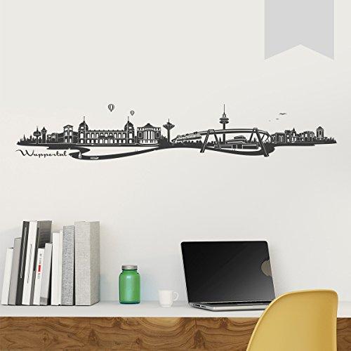 WANDKINGS Wandtattoo Skyline Wuppertal (mit Sehenswürdigkeiten und Wahrzeichen der Stadt) 150 x 26 cm hellgrau - erhältlich in 33 Farben