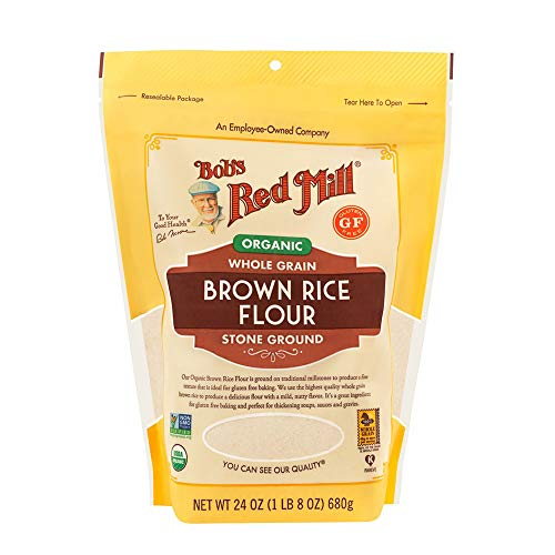 Bob's Red Mill Flour Brown Rice, Whole Grain Organic, 24 Ounce (Pack of 4)