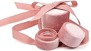 Pink Velvet Ring Box Blush Pink, Round Shape with Silk Ribbon, Engagement Ring Box, Wedding Ring Box, Wedding Photo Shoot, Engagement Photo Shoot, Bridal Gift, Jewelry Storage organizer