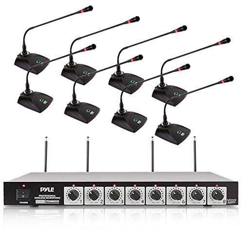"""8 Channel Wireless Microphone System - Portable VHF Cordless Audio Mic Set with 1/4"""" and XLR Output, Dual Antenna, - Includes 8 Table Top Mics, Rack Mountable Receiver Base - Pyle PDWM8300,Black"""