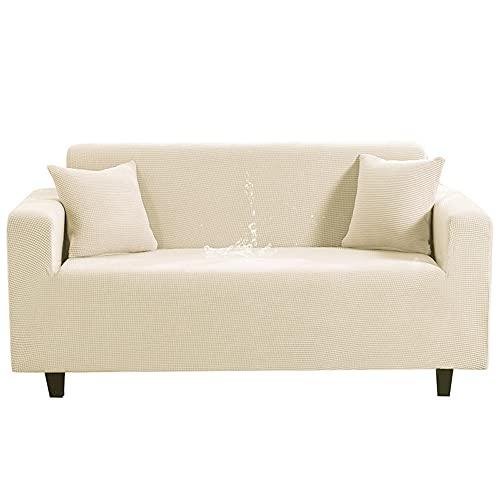 OKJK Funda de Sofa Impermeable Color sólido Fundas de Sofa Ajustables de Alto Estiramiento Fundas Sofa elasticas con Todo Incluido Protector Sofa para Sala de Estar (Beige,4-Seater 235-300cm)