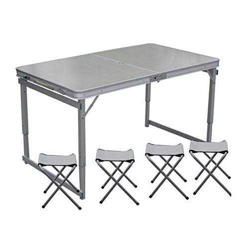 BUYT Picnic Tables Portable Outdoor Camping Leisure Dining Table Adjustable Height Thickened with Umbrella Hole and 4 Stools