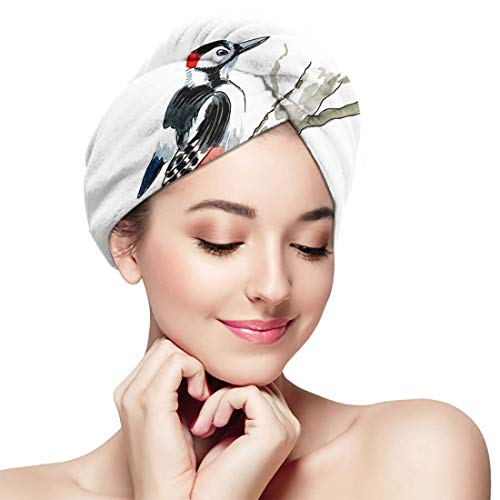 XBFHG Baignade Cheveux Secs Cap Aquarelle Pic Argent Arbre Belle Séchage Rapide Serviette Enveloppée Adulte Douche Tête De Bain Bonnet