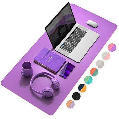 YSAGi Multifunktionale Schreibtischunterlage, ultradünn, wasserdicht, PU-Leder, Mauspad, zweiseitig nutzbar, für Büro/Zuhause (Lila+Rosa, 80 x 40 cm)