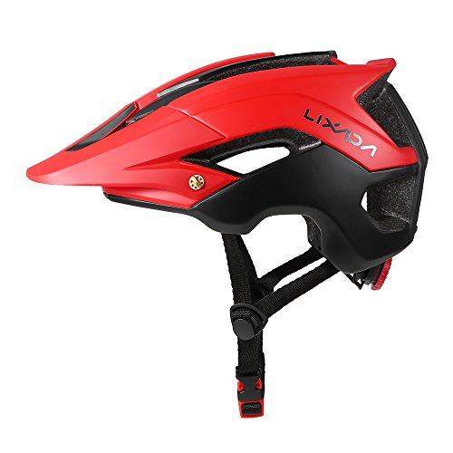 Lixada Casco de Ciclismo de Montaña Casco Protector Ultraligero de Seguridad Deportiva 13 Orificios de Ventilación (Rojo + Negro)