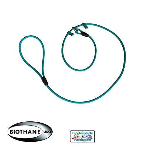 Retrieverleine 2m aus runder BioThane - Moxonleine mit Zugstopp, Wasserabweisende Leine, Hundeleine mit Halsband für Retriever, 6mm dick, 2m lang, Türkis