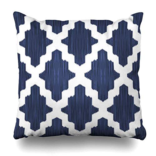 nonbrand Throw Pillow Covers Design Navy Trellis Ethnic Moroccan Damask for Pattern Moorish Blue Carpet White Vintage Classic Pillowslip Square Sie 18 x 18 Inches Cushion Cases Pillowcases