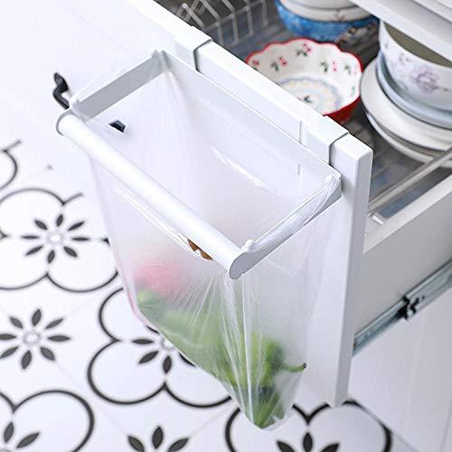 Gabinete De Cocina Puerta Y Gabinete Ferro Bracket Bolsa Bolsa De Basura Soporte Cubo de basura (1PCS 2PCS) White- 2PCS