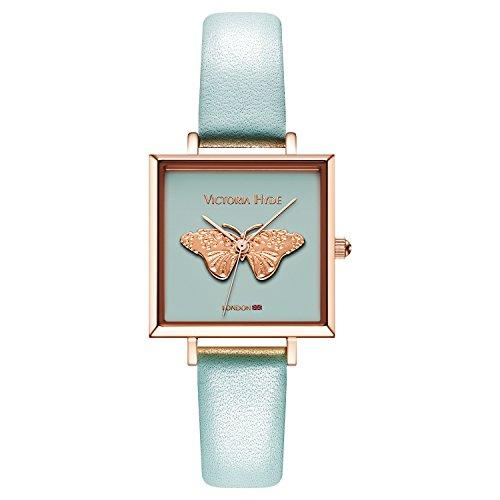 VICTORIA HYDE Damen Quarz Uhren Quadratisches 3D Schmetterling Zifferblatt Lederarmband