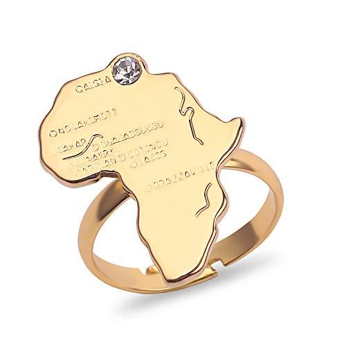 Color De Oro Ajustable Africa Mapa Anillo Para Las Mujeres Hombres Hip Hop Punk Joyería African Regalos Africanos Para Amigos