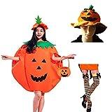 5 Pcs Disfraz de Calabaza, Halloween Fiesta de Carnaval, 2 sombreros de calabaza + vestido de calabaza + bolsos de calabaza + medias de espalda naranja para adultos a rayas, accesorios de disfraces